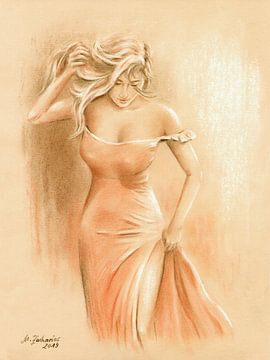 De droom van een man in een rode jurk - Erotische kunst van Marita Zacharias