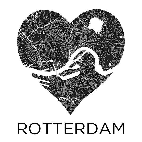 Liefde voor Rotterdam ZwartWit  |  Stadskaart in een hart van Wereldkaarten.Shop