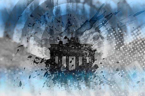Graphic Art BERLIN Brandenburg Gate van Melanie Viola