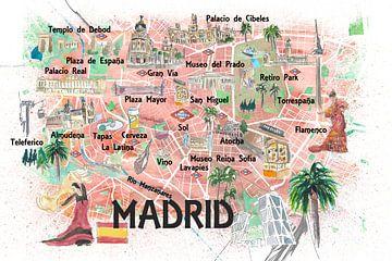 Madrid Spanje Geïllustreerde stadsplattegrond van Markus Bleichner