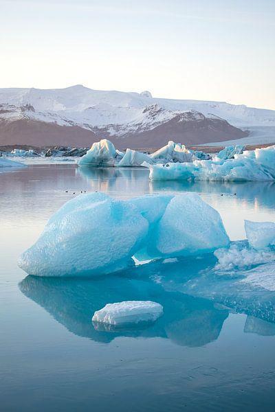 Jökulsárlón Gletsjer meer met ijsschots, Ijsland van Elles van der Veen