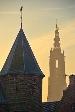 Sonnenaufgang Amersfoort auf Our Lady und Paar-Tor von Jerome van den Berg