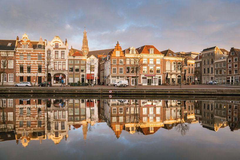 Sunrise at the river Spaarne van Koen van der Lee