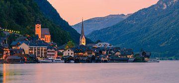 Zonsondergang Hallstatt, Oostenrijk van Henk Meijer Photography