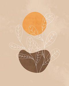 Minimalistisch landschap in herfstkleuren met een oranje zon