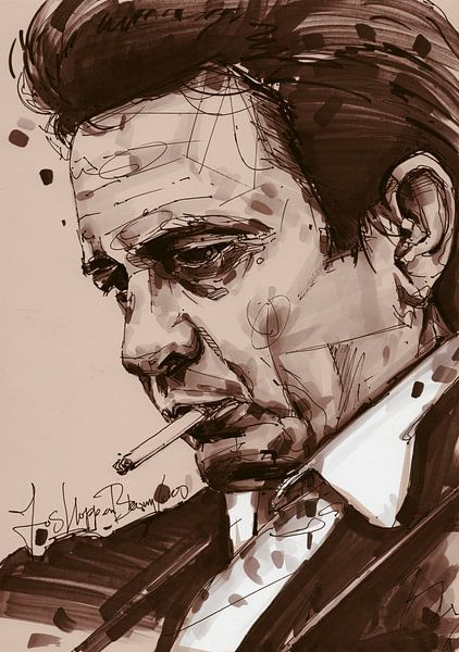 Johnny Cash kunst von Jos Hoppenbrouwers
