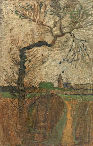 Fussweg mit Weide und Dorf am Horizont, Richard Nicolaüs Roland Holst, 1891 von Marieke de Koning