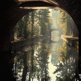 Le pont Paulus à Utrecht sur la Nieuwegracht en automne (1) sur De Utrechtse Grachten
