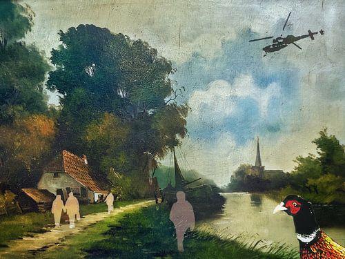 Oud schilderij met fazant en helikopter