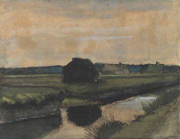 Landschaft mit einem Stapel Torf und Bauernhäusern, Vincent van Gogh