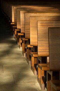 Kerkbanken in het ochtendlicht van