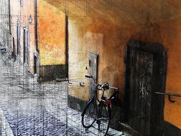 Stockhol, Straße mit Fahrrad von Joost Hogervorst