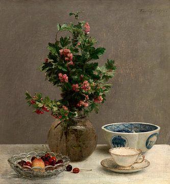 Stilleben mit Weißdornvase, Kirschenschschale, Japanische Schale und Tasse und Untertasse, Henri Fan