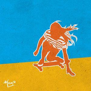Longboard Mädchen von Jaap Tinholt