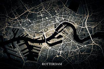 Rotterdam - Abstrakte Karte in Schwarz Gold Gelb von Art By Dominic
