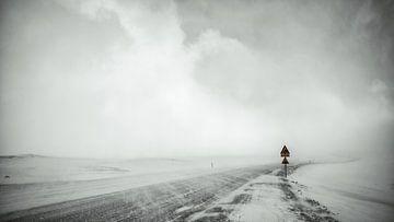 Sneeuwstorm - IJsland van Gerald Emming