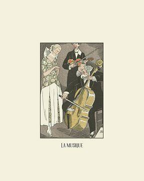 La musique - muziek, concert, Art Deco, 1920s Mode print van NOONY