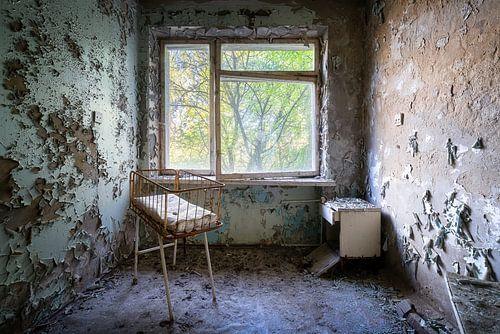 Salle de maternité dans un hôpital abandonné.