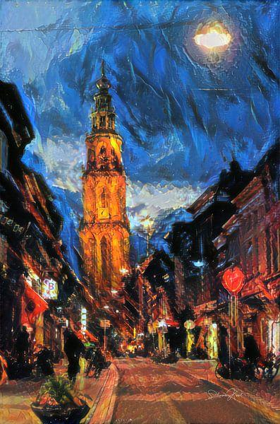 Sfeervol Schilderij Groningen - Martinitoren vanaf Oosterstraat van Slimme Kunst.nl