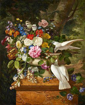 Blumen in einer Vase mit zwei Tauben, François Lepage