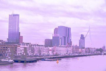 Rotterdam - Erasmusbrug en omgeving - in paars-lila tinten von Ineke Duijzer