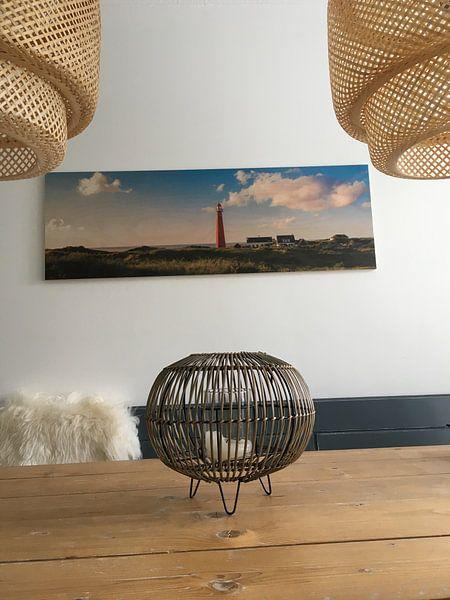 Klantfoto: Zonnige kust vuurtoren Schiermonnikoog van Joris Beudel, op hout
