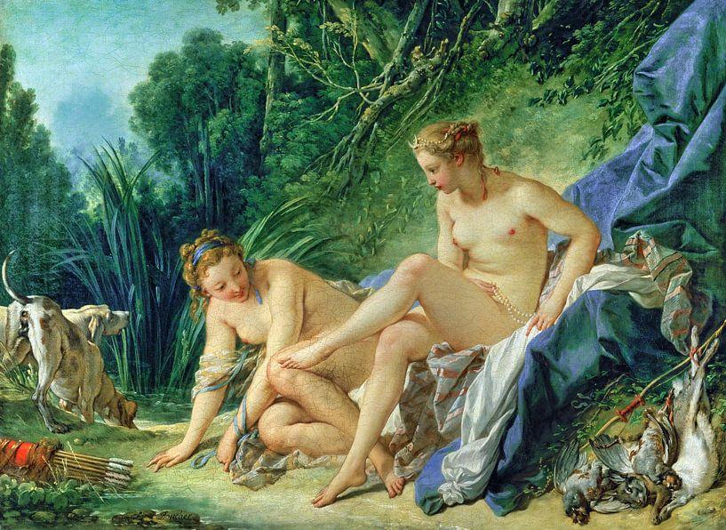 Nackte Göttin Diana ruhend nach ihrem Bad, François Boucher, 1742 von Atelier Liesjes