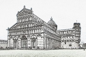 Piazza dei Miracoli in Pisa, Italië van Gunter Kirsch