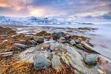 Noors fjord zonsondergang von