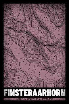 Finsteraarhorn | Kaart Topografie (Grunge) van ViaMapia