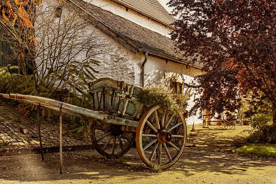 Antieke boerenkar als bloembak