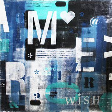 Blauwe Letters NYC van Kathleen Artist Fine Art