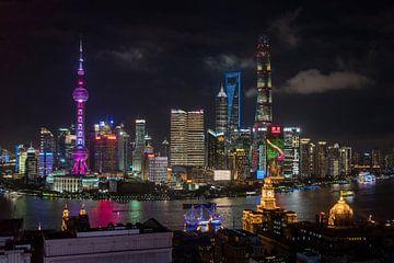 Skyline vom Bund in Shanghai, China von Bert Buijsrogge