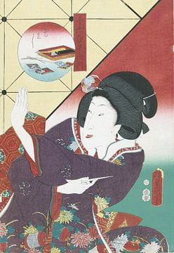 Vrouw in herfst kimono, Kunisada (I) , Utagawa
