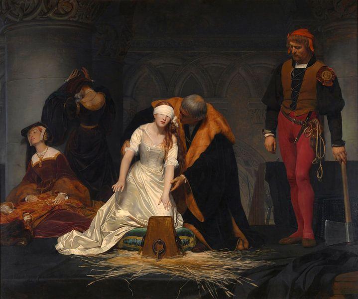 Die Hinrichtung der Lady Jane Grey, Paul Delaroche von Meesterlijcke Meesters
