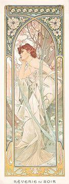 Tijden van de Dag: Avond Overdenking - Jugendstil Schilderij Mucha Jugendstil