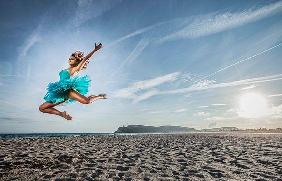 SA 11399069 Een jonge danseres in tutu op het strand