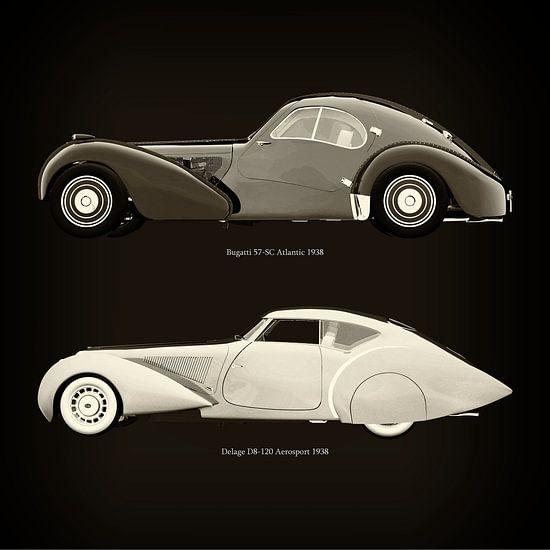 Bugatti 57-SC Atlantic 1938 en Delage D8-120 Aerosport 1938