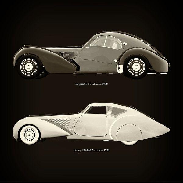 Bugatti 57-SC Atlantic 1938 en Delage D8-120 Aerosport 1938 van Jan Keteleer