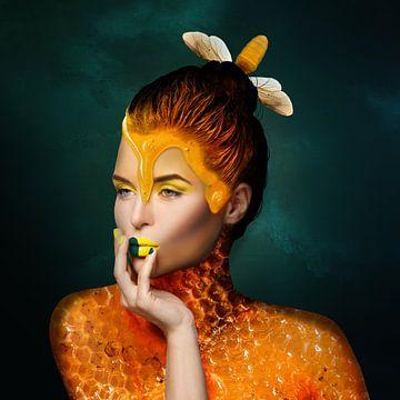 Meisje met parel van honing van OEVER.ART