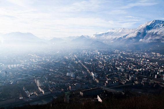 Prachtig uitzicht over de stad Grenoble in Frankrijk