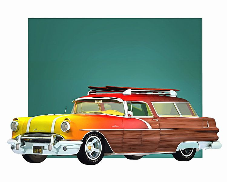 Klassieke auto – Oldtimer Pontiac Safari Surfer edition van Jan Keteleer