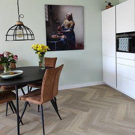Klantfoto: Het Melkmeisje - Vermeer Schilderij (HQ), als print op doek