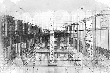 Winkelcentrum De Zeeland in Bergen op Zoom (schets) van Art by Jeronimo