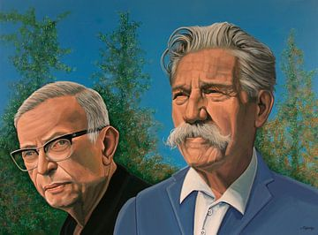 Jean-Paul Sartre en Albert Schweitzer Schilderij van Paul Meijering