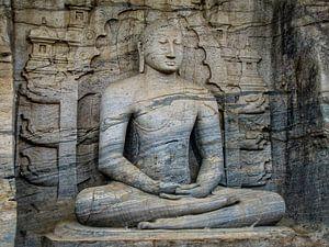 Zittende Boeddha, de Gal vihara, Sri Lanka van