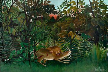 Der hungrige Löwe greift eine Antilope an, Henri Rousseau