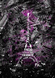 Digital Art Eiffeltoren   roze / sw