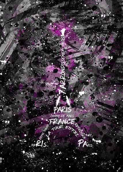 Digital Art Eiffeltoren   roze / sw van Melanie Viola