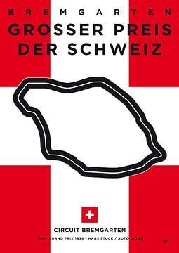 My F1 Bremgarten Race Track Minimal Poster van Chungkong Art